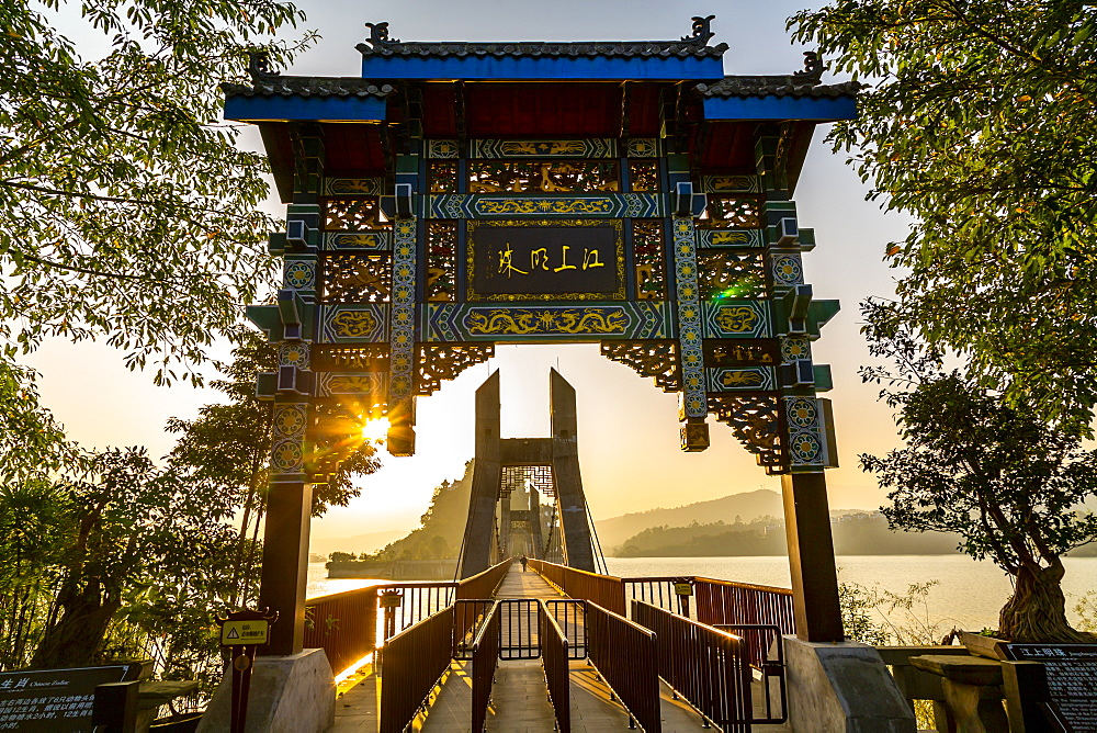 View of entrance to Shi Baozhai Pagoda on Yangtze River near Wanzhou, Chongqing, People's Republic of China, Asia