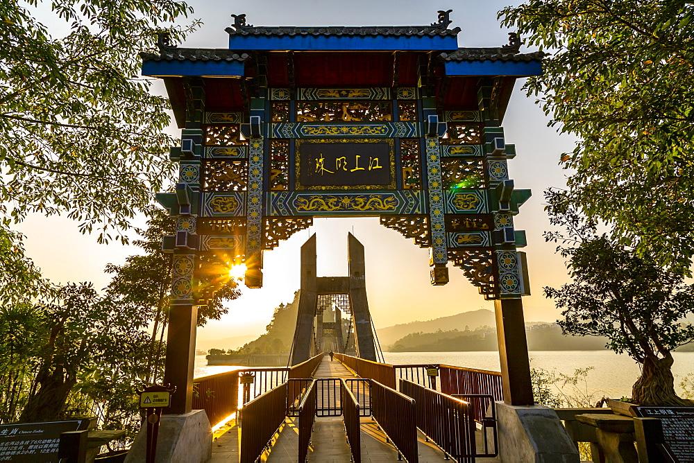 View of entrance to Shi Baozhai Pagoda on Yangtze River near Wanzhou, Chongqing, People's Republic of China, Asia - 844-21894