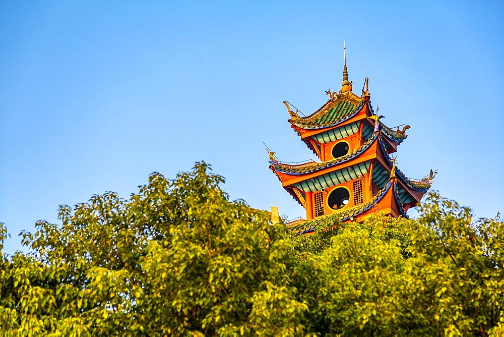 View of Shi Baozhai Pagoda on Yangtze River near Wanzhou, Chongqing, People's Republic of China, Asia - 844-21896