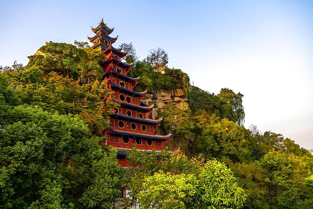 View of Shi Baozhai Pagoda on Yangtze River near Wanzhou, Chongqing, People's Republic of China, Asia - 844-21899