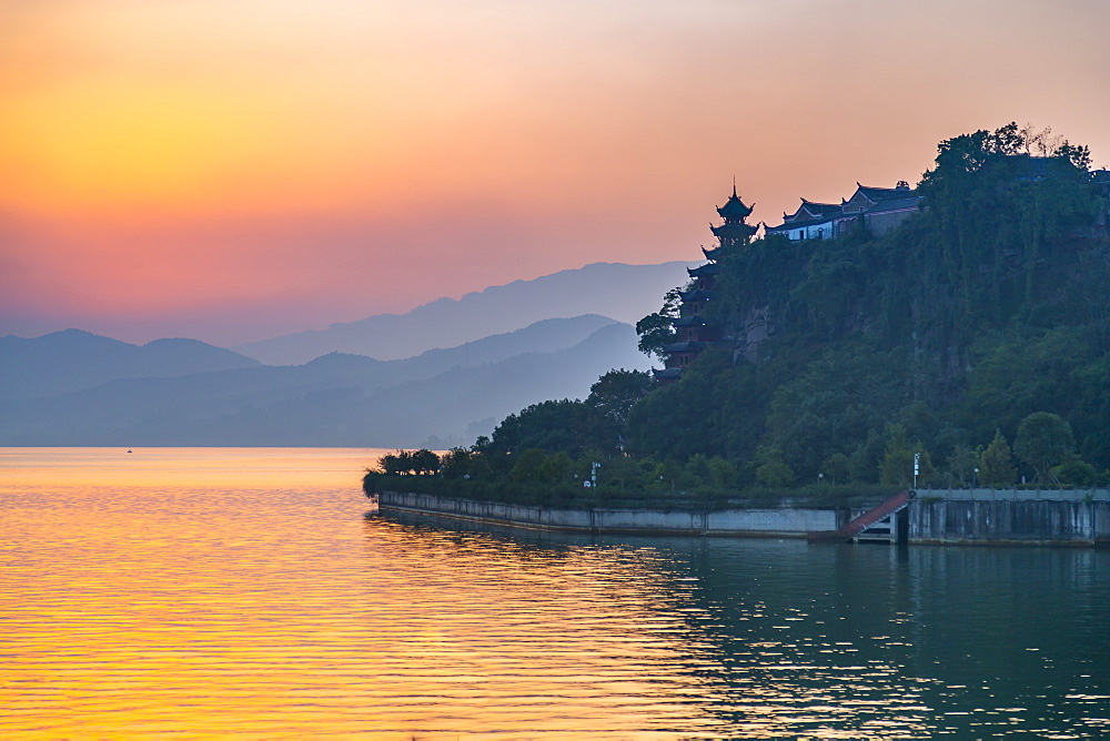 View of Shi Baozhai Pagoda at sunset on Yangtze River near Wanzhou, Chongqing, People's Republic of China, Asia - 844-21900