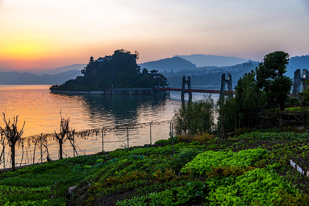 View of Shi Baozhai Pagoda at sunset on Yangtze River near Wanzhou, Chongqing, People's Republic of China, Asia