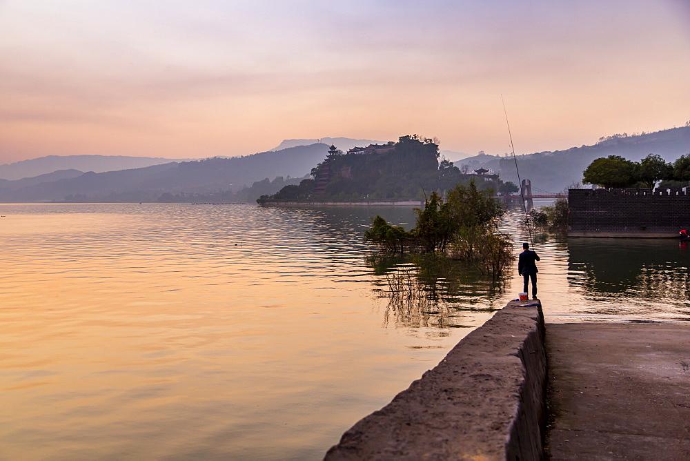 View of Shi Baozhai Pagoda at sunset on Yangtze River near Wanzhou, Chongqing, People's Republic of China, Asia - 844-21902