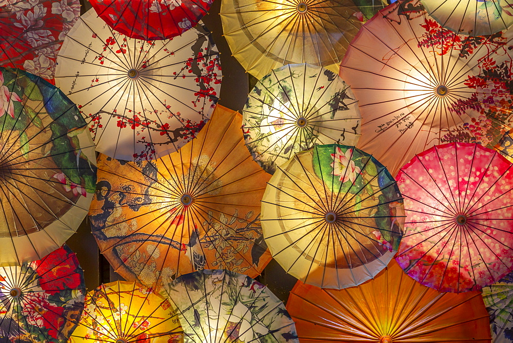 Umbrellas in Kuanxiangzi Alley, Chengdu, Sichuan Province, People's Republic of China, Asia