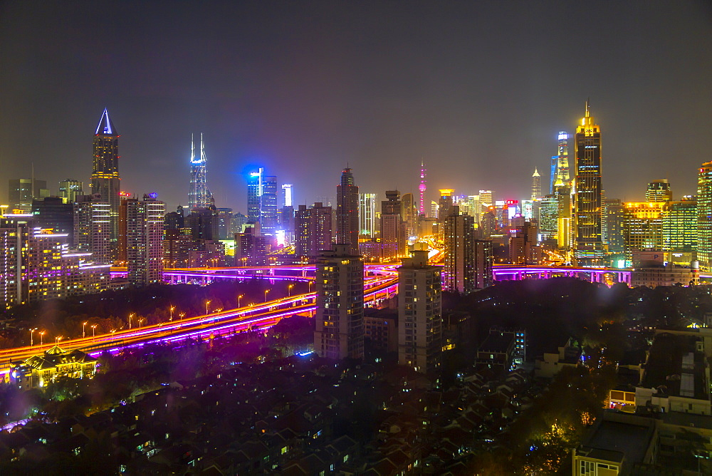 View of Shanghai skyline at night, Luwan, Shanghai, China, Asia