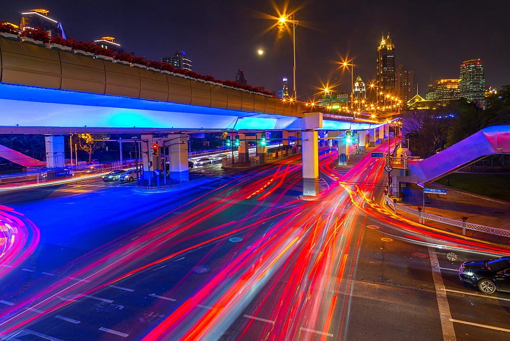 Luban Road Motorway Interchange at night, Luwan, Shanghai, China, Asia