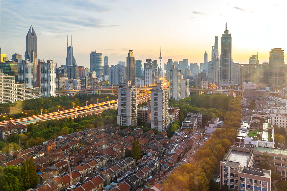 View of Shanghai skyline at sunrise, Luwan, Shanghai, China, Asia