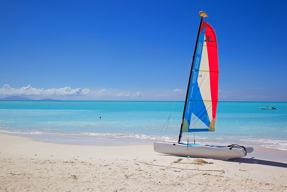 Beach and hobie cat, Jolly Harbour, St. Mary, Antigua, Leeward Islands, West Indies, Caribbean, Central America