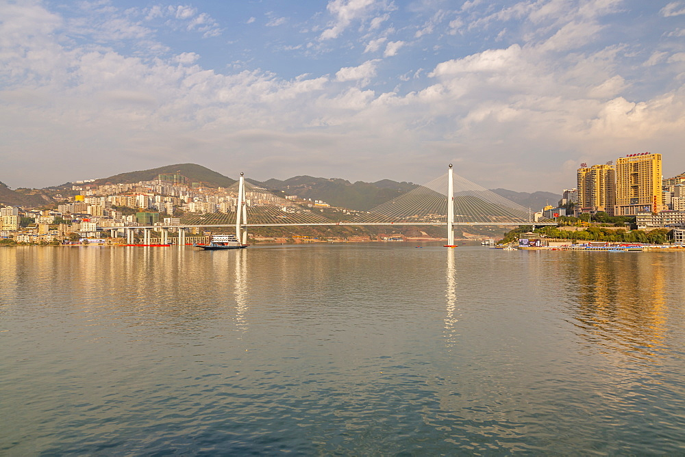 View of Badong Changjiang Bridge on the Yangtze River, Enshi City, Badong County, People's Republic of China