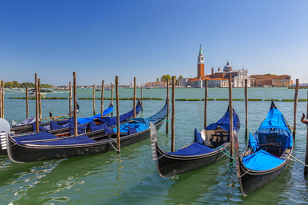 View of gondolas and San Giorgio Maggiore and Lido, Venice, UNESCO World Heritage Site, Veneto, Italy