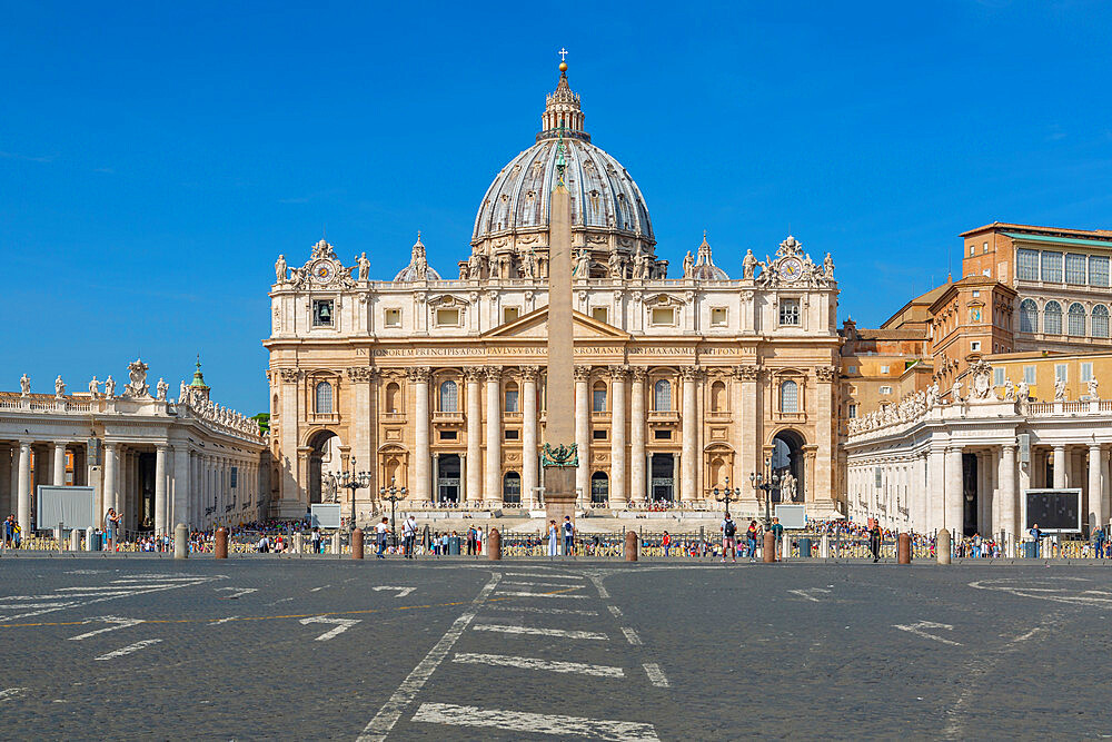 View of ancient Basilica di San Pietro in the Vatican, symbol of Catholic religion, Rome, Lazio, Italy, Europe
