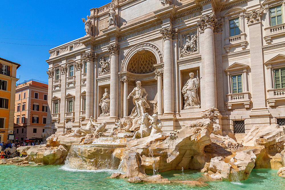 View of Trevi Fountain in bright sunlight, Piazza di Trevi, Rome, Lazio, Italy, Europe