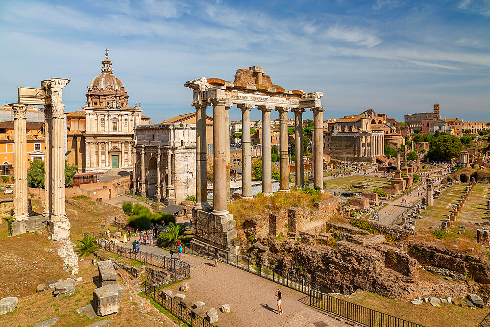 View of Roman Forum (Foro Romano), Temple of Saturn and Arch of Septimius Severus, Rome, Lazio, Italy, Europe