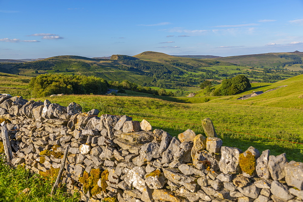 Traditional dry stone wall and view of Hope Valley, Castleton, Peak District National Park, Derbyshire, England, United Kingdom, Europe