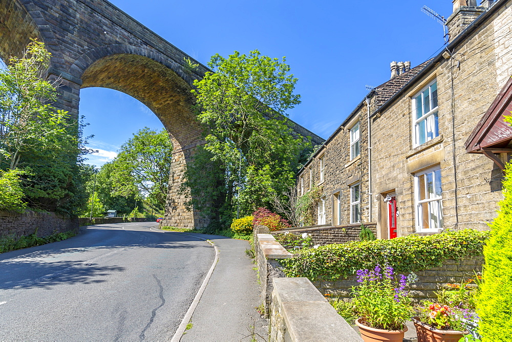 View of railway viaduct and cottages at Chapel Milton, Derbyshire, England, United Kingdom, Europe