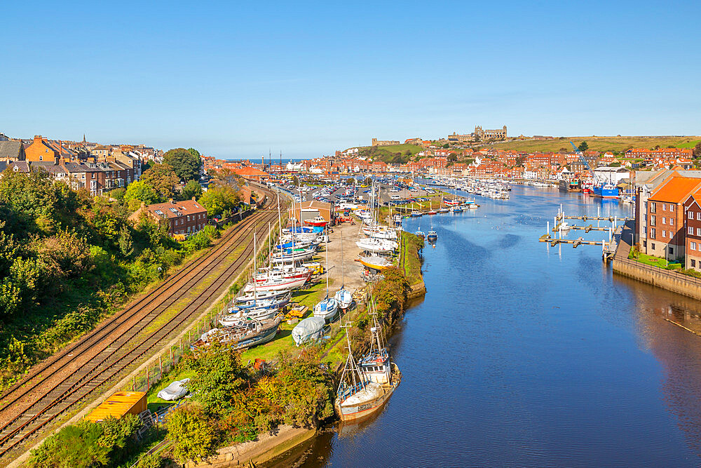 View of Whitby and River Esk from high bridge, North Yorkshire, England, United Kingdom, Europe - 844-23348