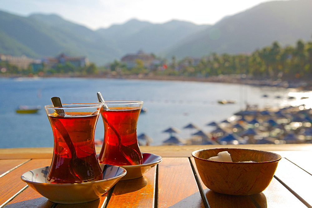 Turkish tea and beach, Icmeler, Marmaris, Anatolia, Turkey, Asia Minor, Eurasia