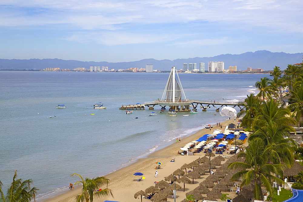 View of beach in Downtown, Puerto Vallarta, Jalisco, Mexico, North America