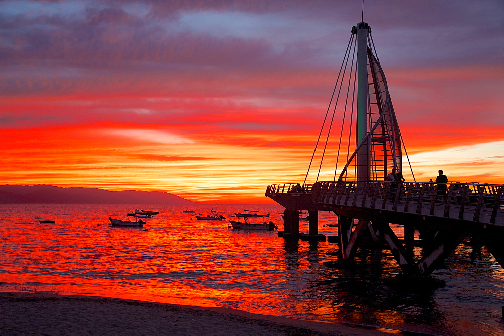 Promenade and beach in Downtown at sunset, Puerto Vallarta, Jalisco, Mexico, North America