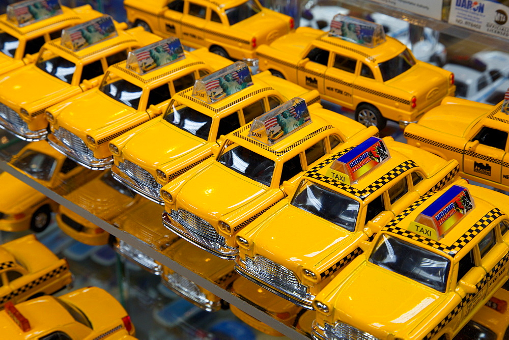 Yellow taxi souvenirs, New York, United States of America, North America