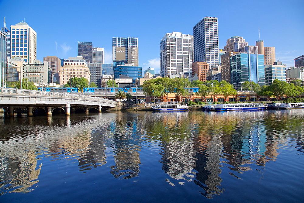 Yarra River and city skyline, Melbourne, Victoria, Australia, Pacific