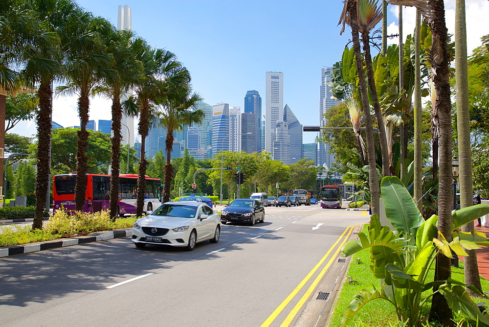 Beach Road and City Skyline, Singapore, Southeast Asia