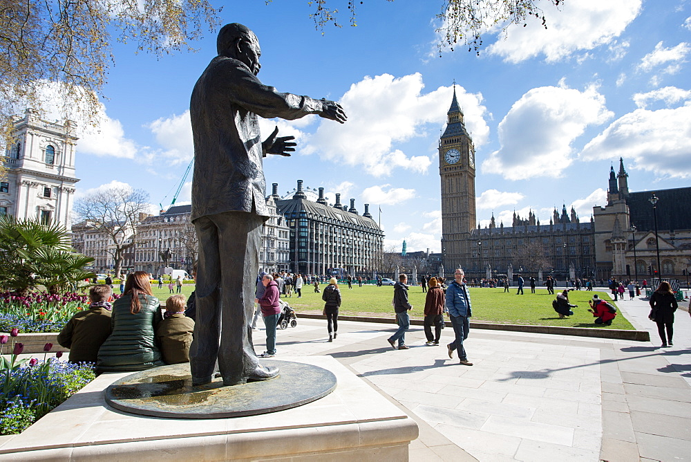 Nelson Mandela statue and Big Ben clocktower, Parliament Square, Westminster, London, England, United Kingdom, Europe
