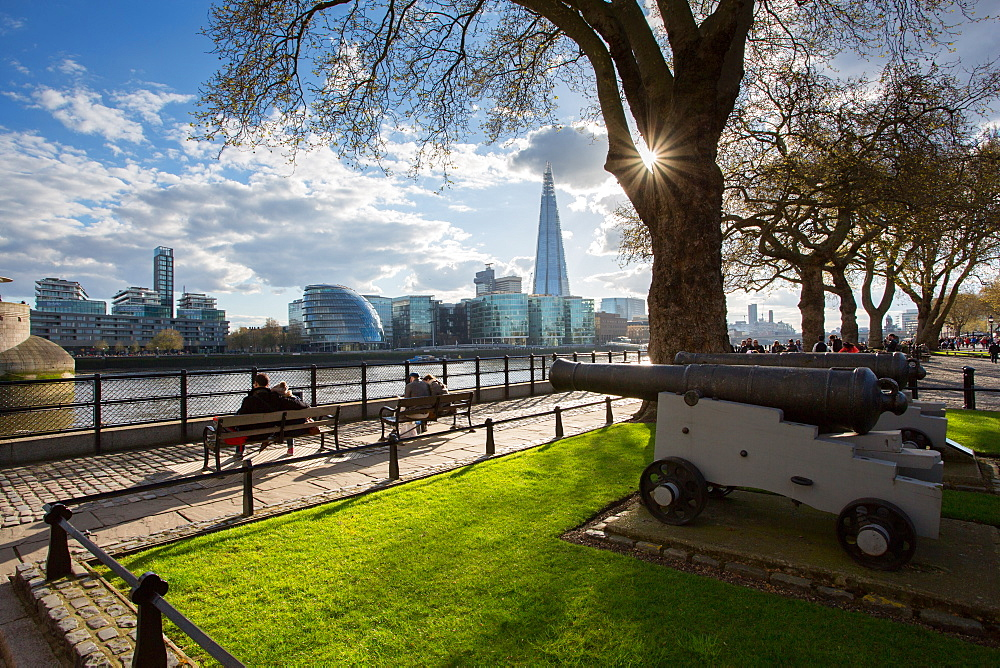 South Bank from Tower of London, London, England, United Kingdom, Europe