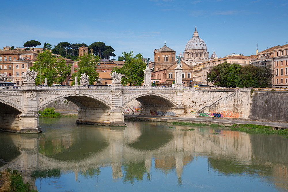 St. Peters and River Tiber, Rome, Lazio, Italy, Europe