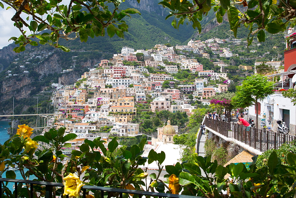View over Positano and Chiesa di Santa Maria Assunta, Province of Salerno, Costiera Amalfitana (Amalfi Coast), UNESCO World Heritage Site, Campania, Italy, Europe