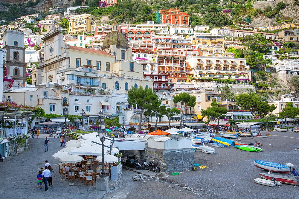 Restaurants on Via Marina Grande, Positano, Province of Salerno, Costiera Amalfitana (Amalfi Coast), UNESCO World Heritage Site, Campania, Italy, Europe