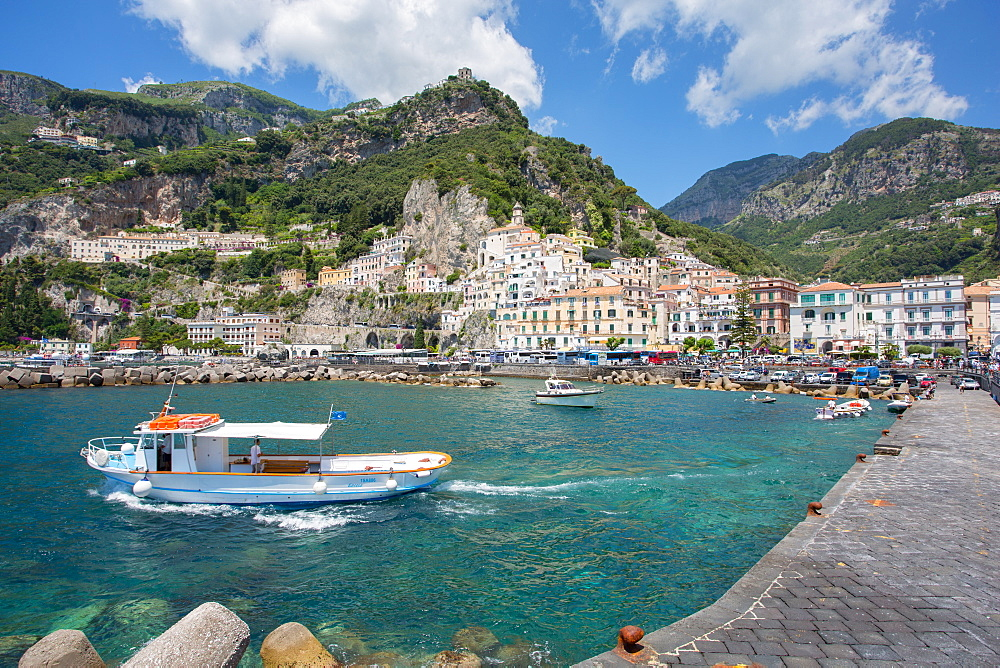 Amalfi from Harbour, Amalfi, Costiera Amalfitana (Amalfi Coast), UNESCO World Heritage Site, Campania, Italy, Europe - 844-8947