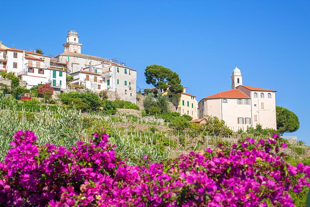 View of Diano Marina from Diano Castello, Imperia, Liguria, Italy, Europe