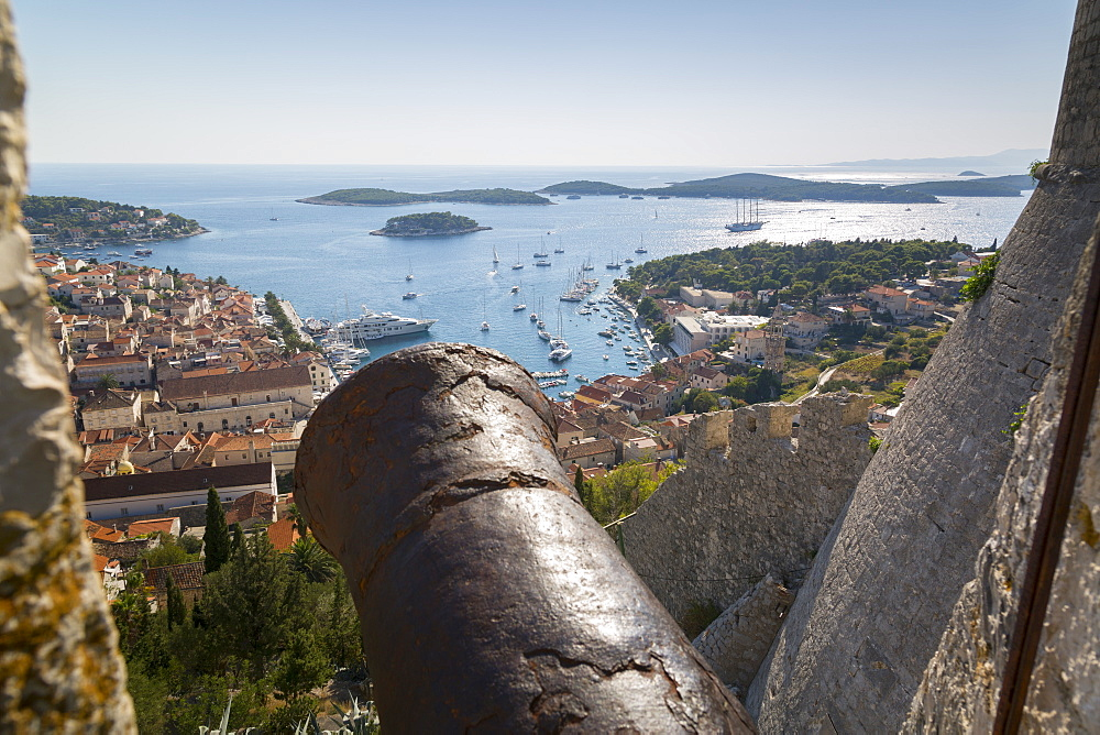 View over Hvar from Spanish Fortress, Hvar Island, Dalmatia, Croatia, Europe