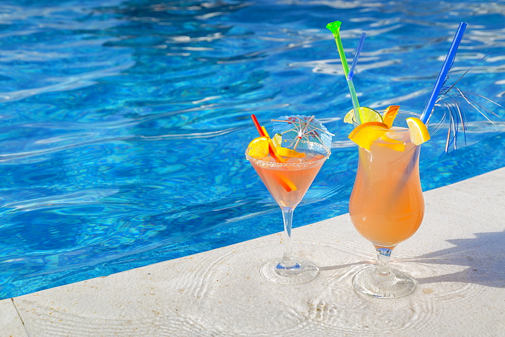 Cocktails by the pool, Korcula, Dalmatia, Croatia, Europe