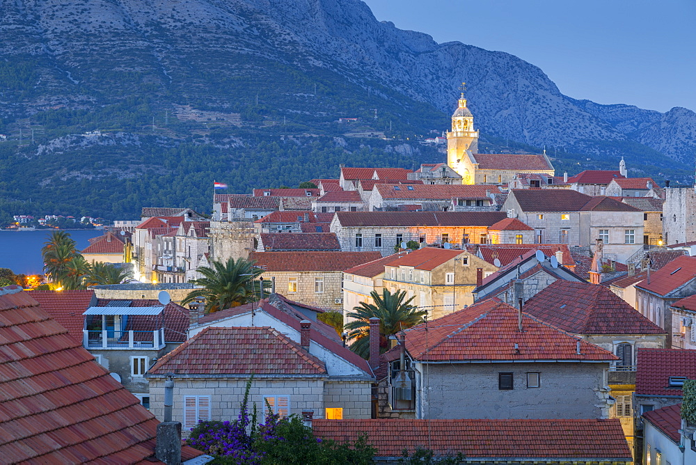 View of Korcula Town at dusk, Korcula, Dalmatia, Croatia, Europe