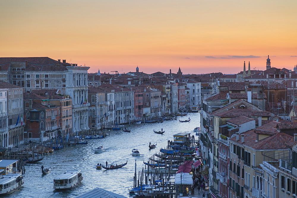Sunset over rooftops, Venice, UNESCO World Heritage Site, Veneto, Italy, Europe
