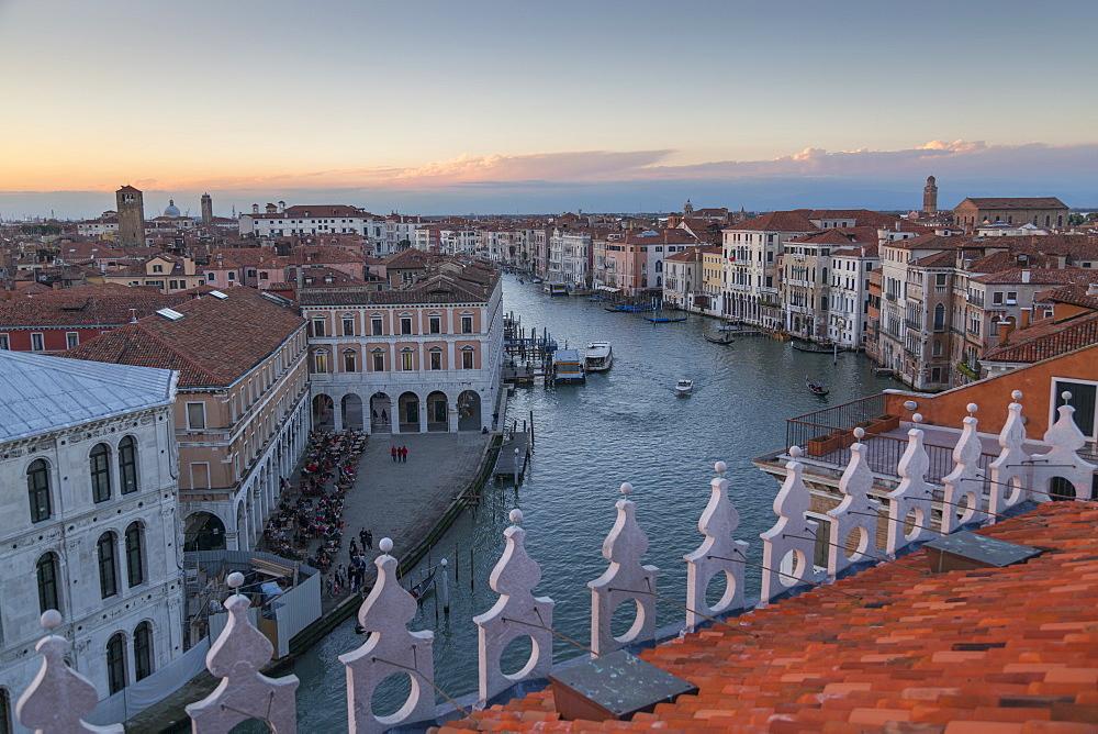 Sunset over rooftops, Venice, UNESCO World Heritage Site, Veneto, Italy, Europe,