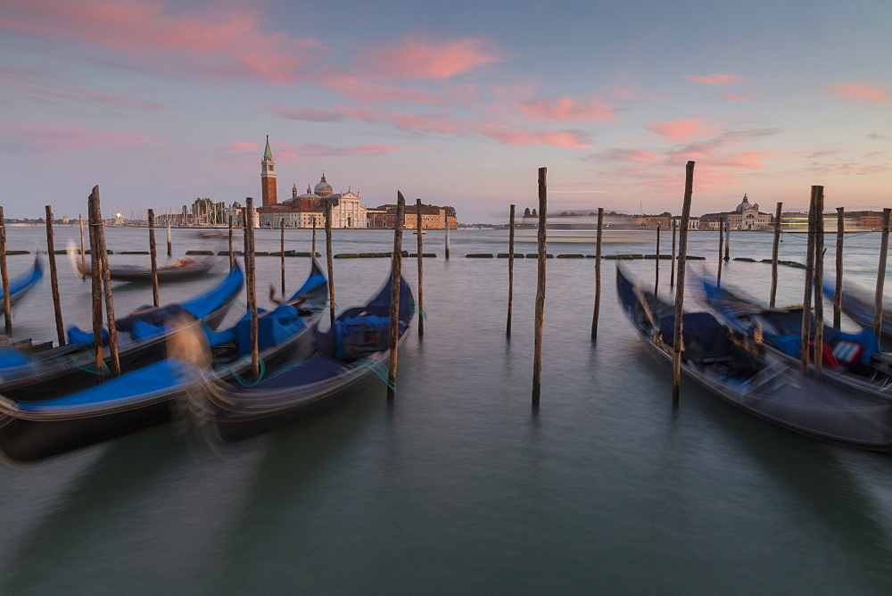 View to San Giorgio Maggiore and Gondola Service, Venice, UNESCO World Heritage Site, Veneto, Italy, Europe
