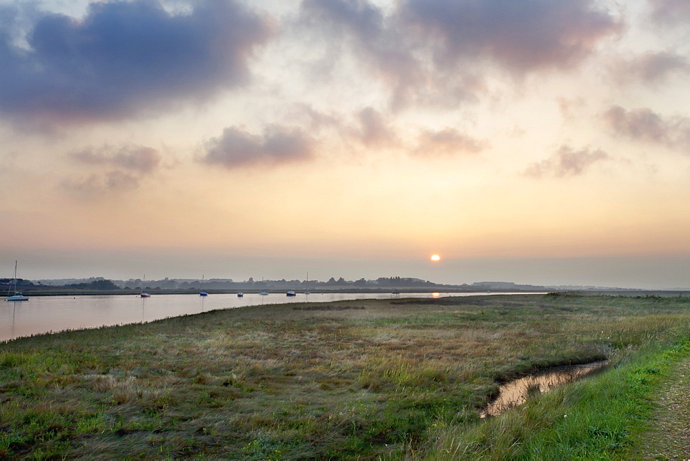 The River Alde at Sunset Aldeburgh Marshes, Suffolk, England, United Kingdom, Europe - 845-1011