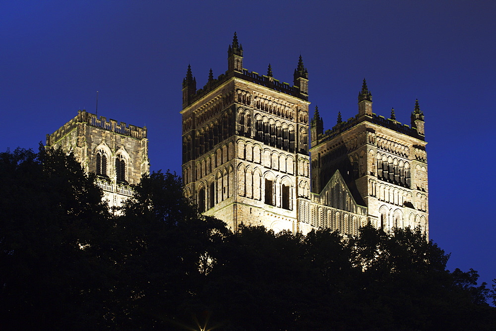 Durham Cathedral floodlit at dusk, UNESCO World Heritage Site, Durham, County Durham, England, United Kingdom, Europe - 845-1015