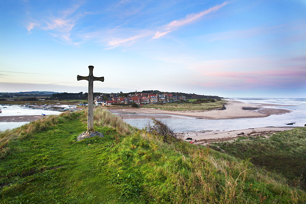 St. Cuthbert's Cross at dusk, Alnmouth, Northumberland, England, United Kingdom, Europe - 845-1020