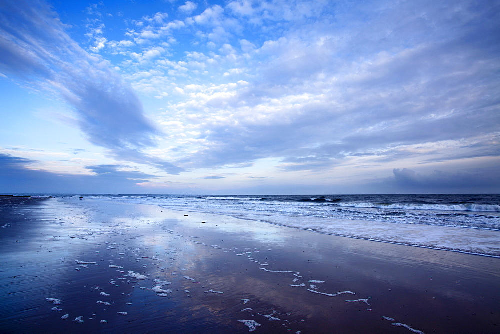 Cloud reflections at twilight on Alnmouth Beach, Northumberland, England, United Kingdom, Europe - 845-1026