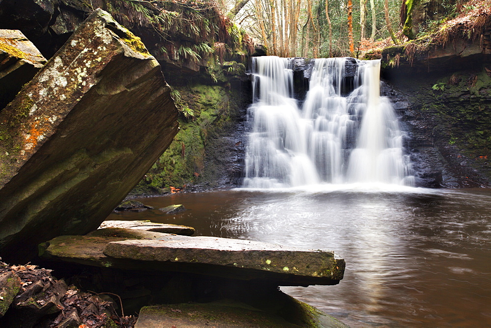 Stone Slabs and Goitstock Waterfall, Cullingworth, Yorkshire, England, United Kingdom, Europe - 845-1033