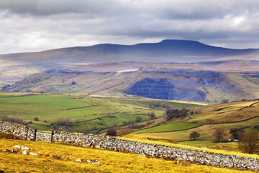 Across Ribblesdale to Ingleborough from above Stainforth near Settle, Yorkshire Dales, Yorkshire, England, United Kingdom, Europe - 845-949