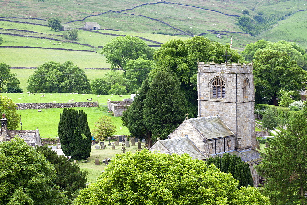 St. Wilfrids Church in the village of Burnsall in Wharfedale, Yorkshire Dales, Yorkshire, England, United Kingdom, Europe - 845-956