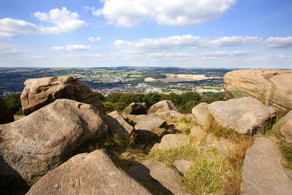 Gritstone Rocks at the Surprise View overlooking Otley from The Chevin, West Yorkshire, Yorkshire, England, United Kingdom, Europe - 845-968