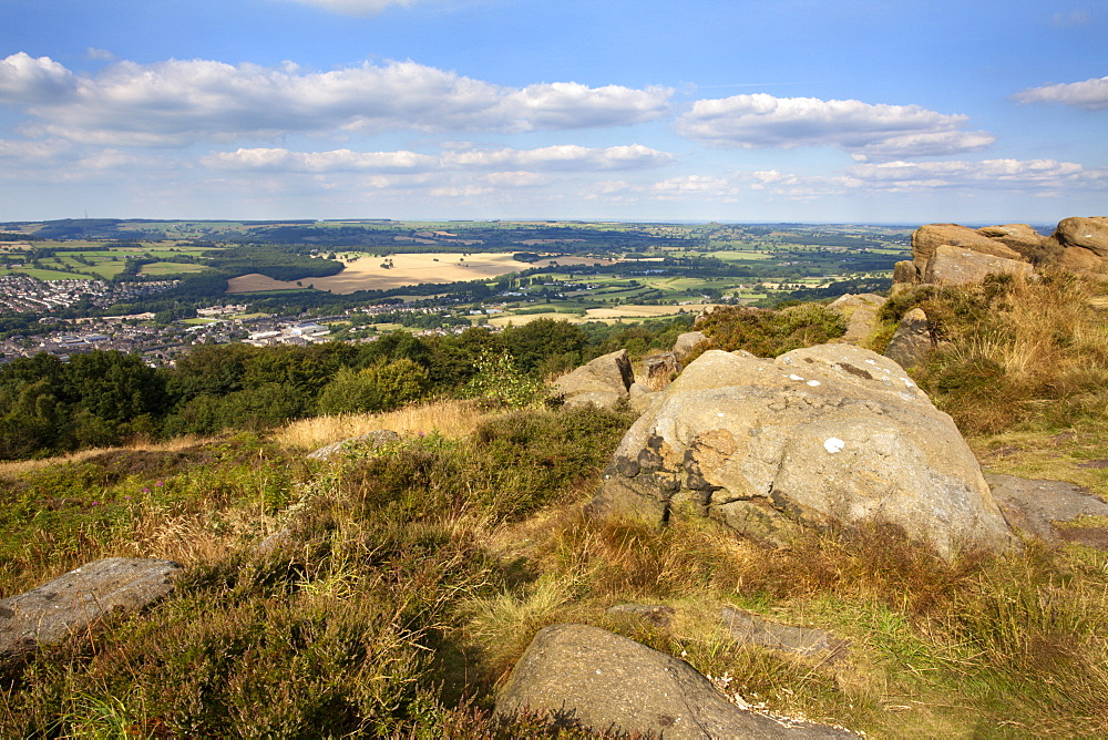 Gritstone Rocks at the Surprise View overlooking Otley from The Chevin, West Yorkshire, Yorkshire, England, United Kingdom, Europe - 845-969