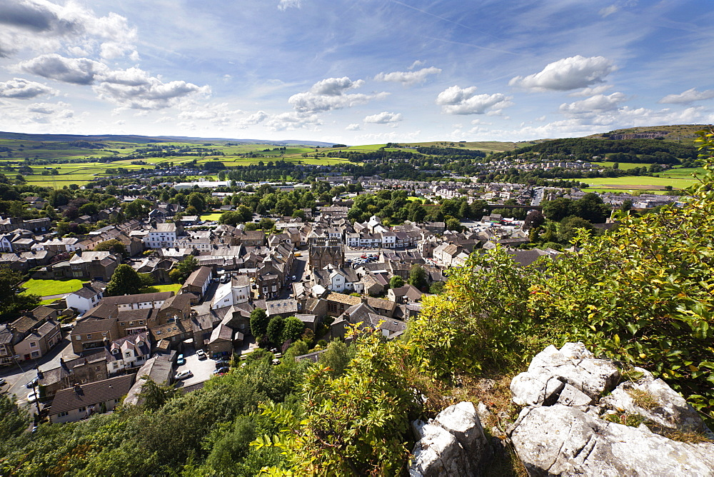 The Dales market town of Settle from Castlebergh Crag North Yorkshire, Yorkshire, England, United Kingdom, Europe - 845-971