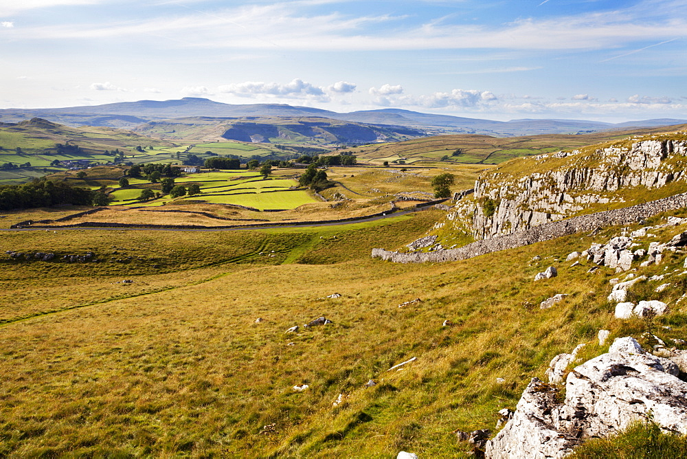 Ribblesdale and Ingleborough from above Langcliffe near Settle, Yorkshire, England, United Kingdom, Europe - 845-975